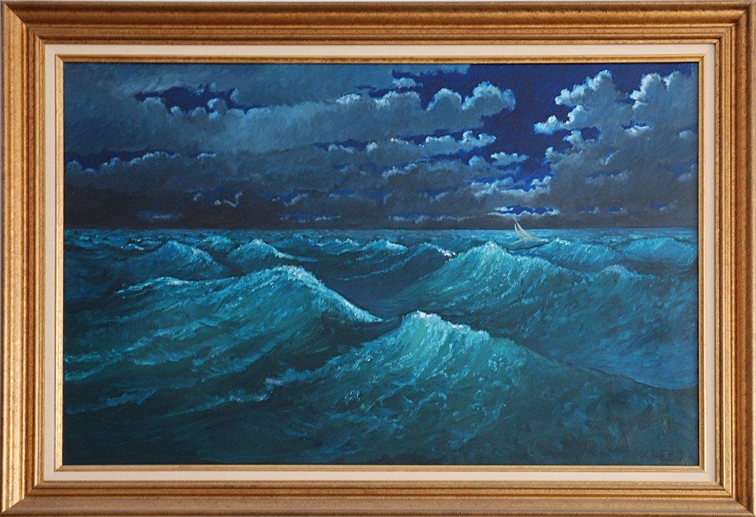 Navegacin de noche una pintura de bruce krebs - Pintura al aceite ...